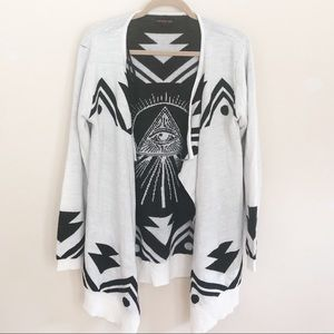 Material girl eye print drop front cardigan